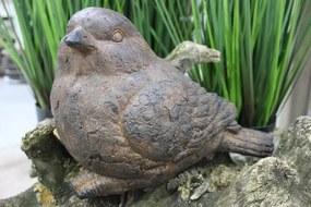 Hnedá soška vtáčika do záhrady 32cm