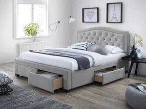 Sivá čalúnená posteľ ELECTRA 140 x 200 cm Matrac: Bez matraca