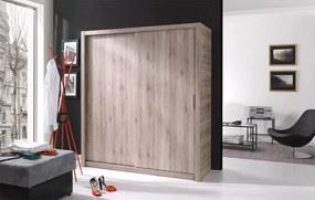 MEBLINE Trendy šatníková skriňa s posuvnými dverami LONDON 180 san remo
