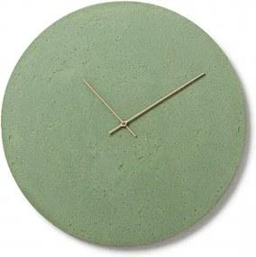 CLOCKIES CEMENT 50 nástenné hodiny Zelená Brezové drevo