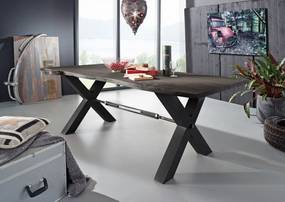 Bighome - DARKNESS Jedálenský stôl 240x100 cm - čierne nohy, sivá, akácia