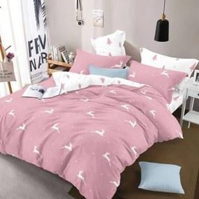 HOD Bavlnené obliečky VIANOCE ružové 7 set 140x200cm