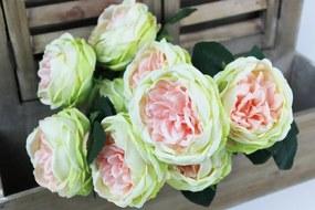 Ružové kvety so zelenými okrajmi v kytici 42cm