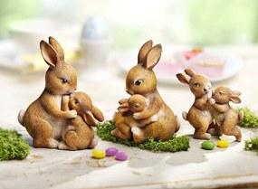 Dekoračné figúrky Zajačie rodinka, súprava 3 ks