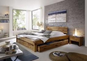 Bighome - YUKON posteľ so zásuvkou 200x200 cm, prírodný masívny dub