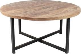 Čierny konferenčný stolík s doskou z mangového dreva LABEL51 Dex, ⌀ 80 cm