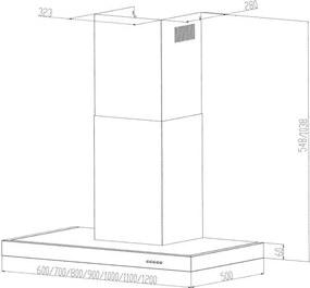 Klarstein Zarah, odsávač pár, ušľachtilá oceľ, 60 cm, 620 m³/h, montáž na stenu, LED