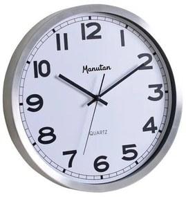 Nástenné hodiny, alu/biela, 35, 5 cm, Quartz