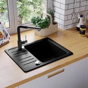 vidaXL Granitový kuchynský drez s jednou vaničkou, čierny