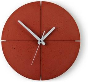 Gakobe Designové nástenné betónové hodiny CIRCLE B Tu si vyber farbu hodín -DVOJKLIK NA FARBU-: Červená, Tu si vyber farbu ručičiek              -DVOJKLIK NA FARBU-: Biele