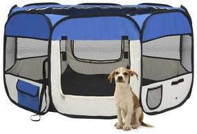 vidaXL Skladacia ohrádka pre psa s prenosnou taškou modrá 125x125x61 cm