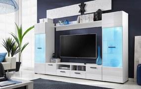 FURNIVAL Switch obývacia stena s osvetlením biela / biely lesk