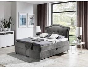 Elegantná rustikálna posteľ Bradley 120x200, šedá + TOPPER