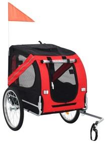 vidaXL Vozík za bicykel pre psa, červená a čierna