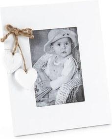 Fotorámček Srdiečka, biela
