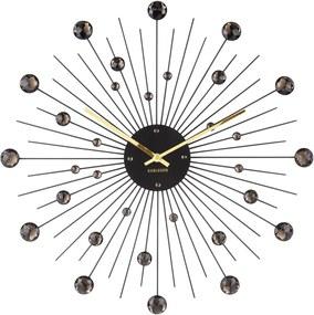 KARLSSON Nástenné hodiny Sunburst veľké čierne krištály