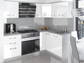 Rohová kuchynská zostava biela Janka s LED osvětlením