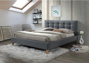 Sivá dvojlôžková posteľ TEXAS 140 x 200 cm Matrac: Bez matraca