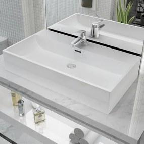 vidaXL Keramické umývadlo s otvorom na batériu, biele, 76x42,5x14,5 cm