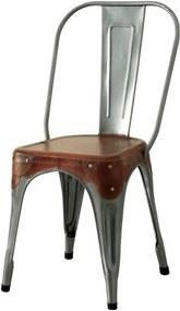 Sconto Stolička IRON železo almond/hnedý kožený poťah