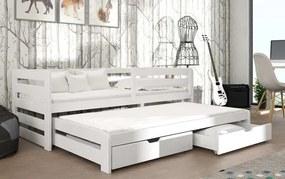 MAXMAX Detská posteľ z masívu borovice SANDRA s prístelkou a zásuvkami - 200x90 cm - BIELA
