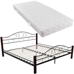 vidaXL Čierna a červeno-hnedá kovová posteľ, 180 x 200 cm, s matracom