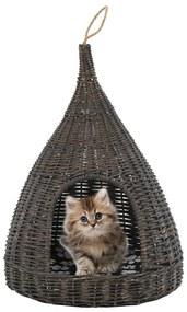 vidaXL Domček pre mačku s vankúšom sivý 40x60 cm prírodná vŕba típí