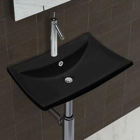 vidaXL Čierne luxusné keramické umývadlo v tvare obdĺžnika s prepadom a otvorom na batériu