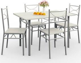 Jurhan 5-dielna jedálenská zostava »Paul« - jedálenský stôl + 4 stoličky – zamatovo biela