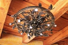 UKM -  Kované svietidlo - kovaný luster SOSNA/KOLESO