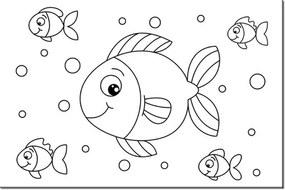 Omaľovánka na plátne Veselé rybičky 30x20cm PM1831A_1T