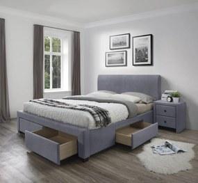 Halmar Čalouněná postel Modena 160x200 dvoulůžko - sametově šedá