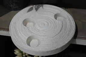 Krémový okrúhly svietnik v pieskovom dizajne
