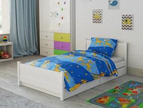 Bavlnené obliečky do postieľky Žirafa modrá