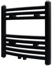 vidaXL Rebríkový radiátor na centrálne vykurovanie, zaoblený, 480 x 480 mm, čierny