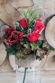 Červená umelá kytica ruží a zelene 50cm