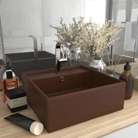 vidaXL Luxusné umývadlo, prepad, matné hnedé 41x41 cm, keramika