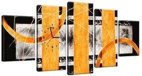 Obraz s hodinami Oranžové línie 150x70cm ZP2529A_5B