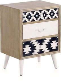 Príručný stolík s čiernobielymi detailmi a troma zásuvkami Geese Rustico Geometric
