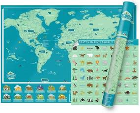 LUCKIES Stieracia mapa sveta WILD WORLD