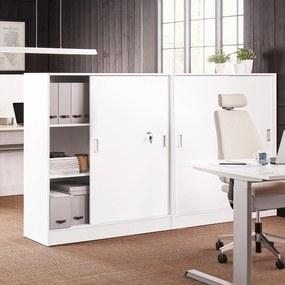 Kancelárska skriňa Flexus s posuvnými dverami, 1325x1200x415 mm, biela