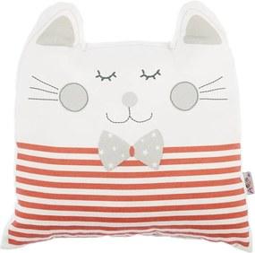 Červený detský vankúšik s prímesou bavlny Mike & Co. NEW YORK Pillow Toy Big Cat, 29 x 29 cm