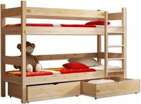MJ Poschodová postel z masívu Paula 2 200x90 Prírodná
