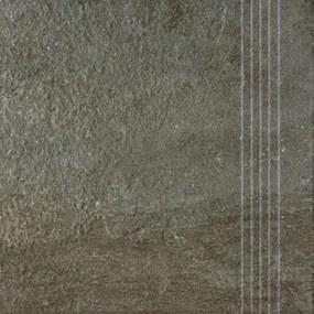 Schodovka Rako Como hnedá 33x33 cm reliéfní DCP3B694.1
