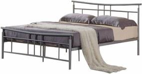 KONDELA Dorado 180 kovová manželská posteľ s roštom matná strieborná
