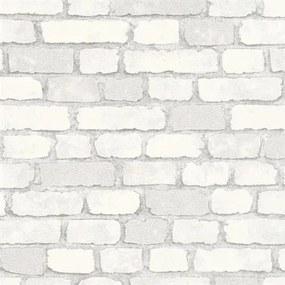 Vliesové tapety na stenu 58412, rozmer 10,05 m x 0,53 m, Brique 3D tehly biele s výraznou štruktúrou, Marburg