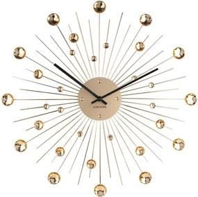 KARLSSON Nástenné hodiny Sunburst veľké zlaté krištály II,akosť