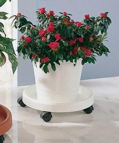 RUCO Miska pod květináč s kolečky, bílá