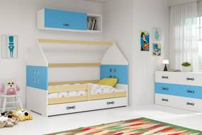 Domčeková posteľ DOMI 160x80cm - BOROVICA - Biela - Modrá