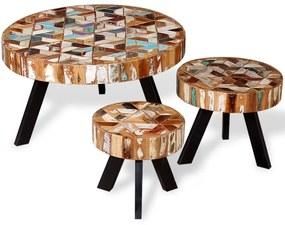 3 konferenčné stolíky z masívneho regenerovaného dreva